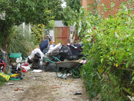rubbish in garden